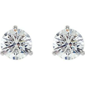 3 Prong Cocktail Style Diamond Stud Earrings 34ctw 14kt White Gold Frictionback