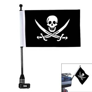 Black Universal Motorcycle Pirate Skull Flag pole Luggage Rack Mount For Harley