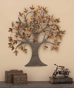 Metal Wall Art Tree of Life Leaves Dream Sculpture Large Home Decor Brown Copper $165.00