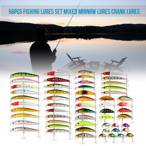 Fishing Lures 56 PIECES Minnow Crankbaits Bass Trout Salmon Walleye Artificial