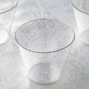 9 oz Disposable Silver Glittered Clear PLASTIC Wine GLASSES Wedding TABLEWARE