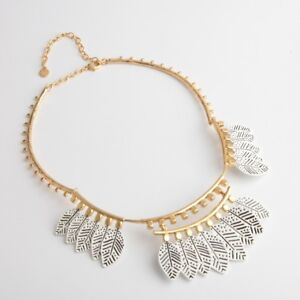 New Authentic Asher White Feather Motifs Statement Necklace Bib Necklace