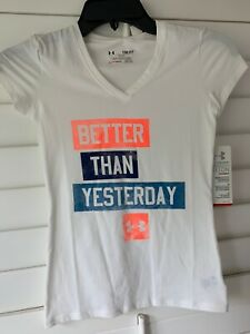 NWT UNDER ARMOUR GIRLS SHORT SLEEVE SHIRT, WHITE,SIZE YOUTH S FITTED $7.99