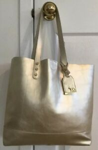 EMMA FOX Design Large Gold Leather Tote Shopper Carryall Bag BEAUTIFUL!