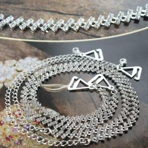 Silver Adjustable Bra Replacement Shoulder Hook Strap Rhinestone For Fashion Col