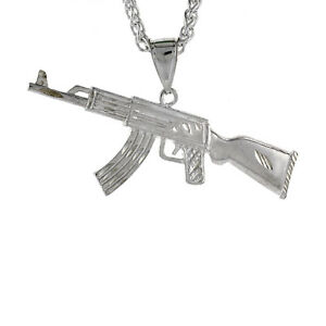 Sterling Silver Long AK47 Pendant 2 12 inch tall