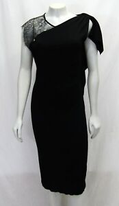 Valentino Large Black Straight Dress Neck Floral Lace Stretch Sleeveless 10