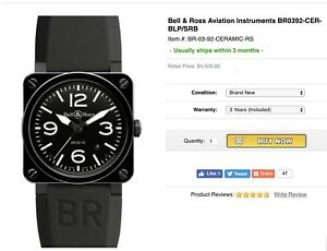 $4800 Bell & Ross BR0392-CER-BLPSRB Ceramic High Polished Glossy 42mm