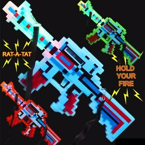 Flashing Pixel Gun Light Up Toy Sound & Strap Mixed Colors (Pack of 12)