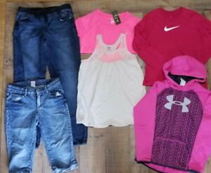 Girls Lot size 14.5 Large and XL Justice Under Armour Danskin Nike Jean's Hoodie