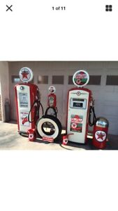 2)Texaco Gas Pumps Eco Airmeter Tire And Trash Can Complete Set CAN SHIP!!!
