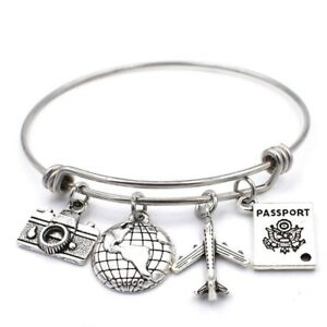 Stainless Steel Adjustable Wire Bangle Camera Globe Airplane Passport Charms DIY