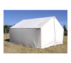 8' x 10' Canvas Wall Tent - Water & Mildew Treated 10.1 oz Army Duck Canvas
