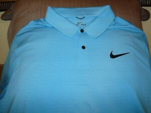 Nike Golf Tiger Woods Blur Stripe 854209 Dri Fit Dry Blue Polo Shirt Men's 2XL