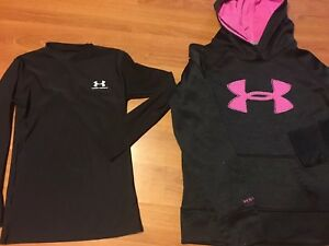 Under Armour Girls Youth Large Pullover Hoodie & Compression Long Sleeve Shirt