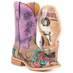 TIN HAUL Women's Brown Sure Shot TH Road Show Sole Square Toe Western Boots NIB