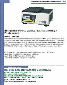 Refrigerated Universal Centrifuge Brushless - 20000 r.p.m High speed Newly