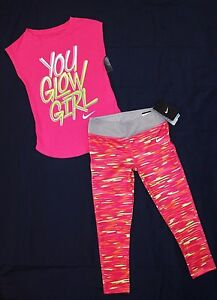 NWT ~GIRL'S NIKE LEGGINGS & T-SHIRT SIZE 6..DRI-FITSTRETCH...COTTONSLEEVELESS