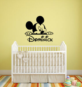 Mickey Mouse Custom Name Wall Decal Personalized Vinyl Sticker Disney Decor 1cnz