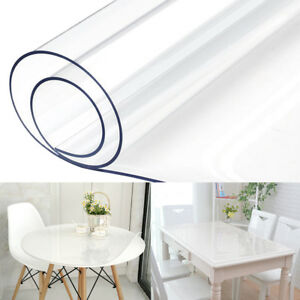 Waterproof Clear Plastic PVC Tablecloth Transparent Protector Dining Table Cover $14.98