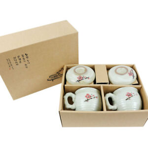 2x Handmade Ceramic Tea Brewing Cup with Infuser and Lid for Steeping, Loose Lea