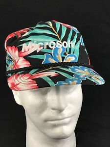 Microsoft Baseball Cap Hat Snapback Adjustable Hawaiian Tropical Floral Corded