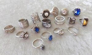 17 vtg sterling silver ring lot Clark & Coombs Israel rhinestone cocktail 6 7 8