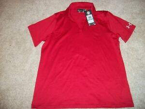UNDER ARMOUR New NWT Womens Polo shirt heat gear Red Loose Fit Large 2XL