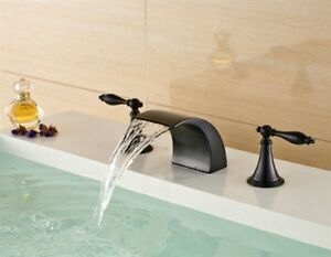 Dual Handle Bathroom Basin Sink Faucet Oil Rubbed Bronze Deck Mounted Mixer Tap