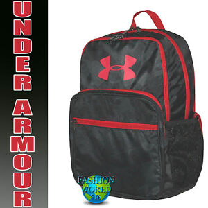 Under Armour HOF Youth Backpack School Book Bag Black CamoRed 1256655 008 NWT