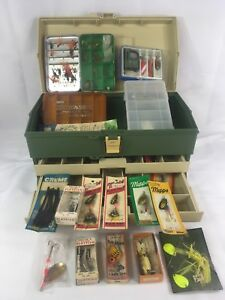 Vintage Plano 707 Two Tray Tackle Box Lures Perrine Fly Box Plano Pocket Pack