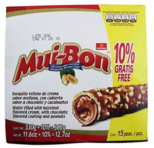 Nutresa MuiBon Chocolate and Peanuts Covered Wafer with Hazzelnut Cream Filling