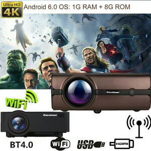 4K WiFi 1080P HD LED Android 6.0 Wireless Smart Home Theater Projector or Screen