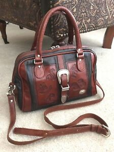 American West Black Brown Tooled Leather Dr's Satchel Crossbody Buckle Hand Bag