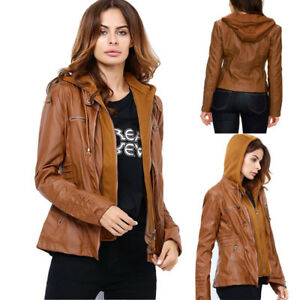 Women Leather Slim Jackets Hooded Detachable Motor Coat Autumn Outwear Plus Size