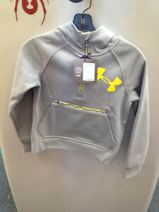 Youth Under Armour CGI Dobson 12 Zip Hoodie color Grey size medium