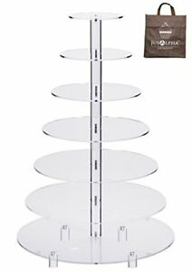 Jusalpha Large 7-Tier Acrylic Round Wedding Cake Stand-Cupcake Stand Serving For