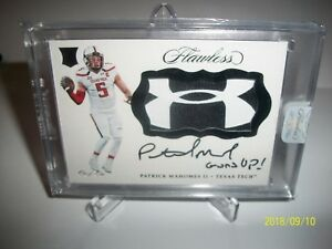 2017 Flawless Collegiate Patrick Mahomes RPA 11  Under Armour Patch RARE 11!!!