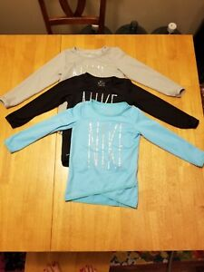 Nike Dri-Fit Toddler Girl's Long Sleeve Shirt Size 2T Black Gray Blue Lot 3