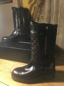Chanel QUILTED Black Motorcycle Combat Leather Boots 38.5 EU 40B $2800