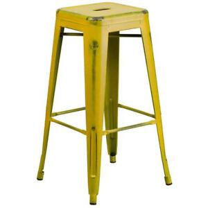 Flash Furniture 30'' High Backless Distressed Yellow Metal Indoor-Outdoor...