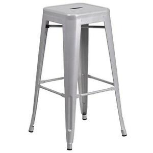 Flash Furniture 30'' High Backless Silver Metal Indoor-Outdoor Barstool with...