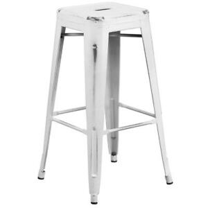 Flash Furniture 30'' High Backless Distressed White Metal Indoor-Outdoor...
