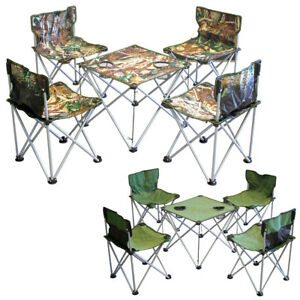 Evelyne 5-piece Outdoor Camping Travel Picnic Folding Tarp Table and Chairs Set
