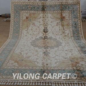 YILONG 8'x11.7' Persian Handmade Silk Rug Artistic Design Medallion Carpet 1870