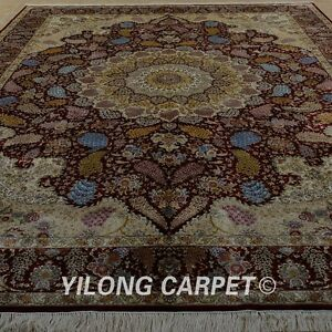 YILONG 9.5'x12.8' Handknotted Silk Persian Rugs Home Decor Durable Carpets 1910