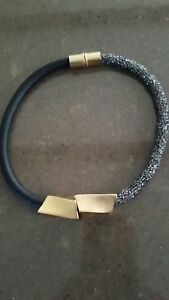 Necklace Sparkling half black leather wrapped with gold Accent-Zzan Jewelry