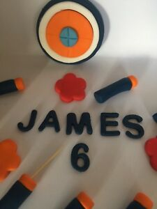 Handmade Birthday Cake Topper Edible Nerf Gun Bullets . Target And Age And Name