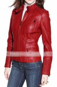 Ladies Women Genuine Real Leather Slim Fit Quilted Red Biker Jacket