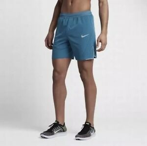 "NIKE AEROMAX 7"" SHORTS 852317-457 teal tech running blue lab L Large Mens"